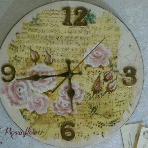 Orologio in legno dipinto a mano rose