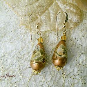 orecchini di perle tensha oro e bronzo