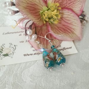 orecchini con perle tensha acquamarina