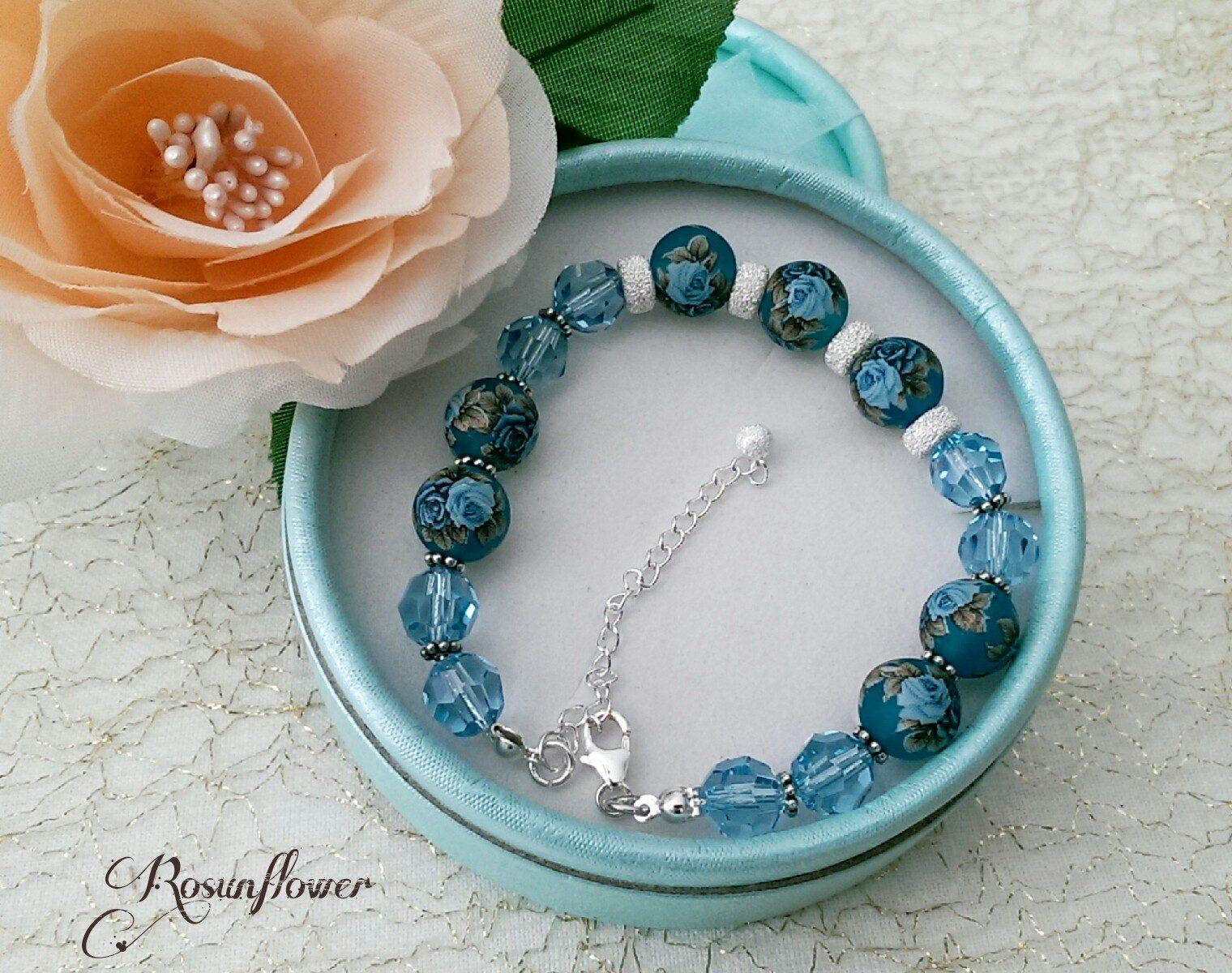 Bracciale azzurro con perle tensha