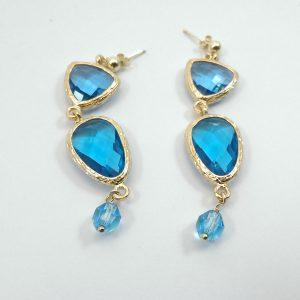Orecchini pendenti di cristallo acquamarina, oro e blu