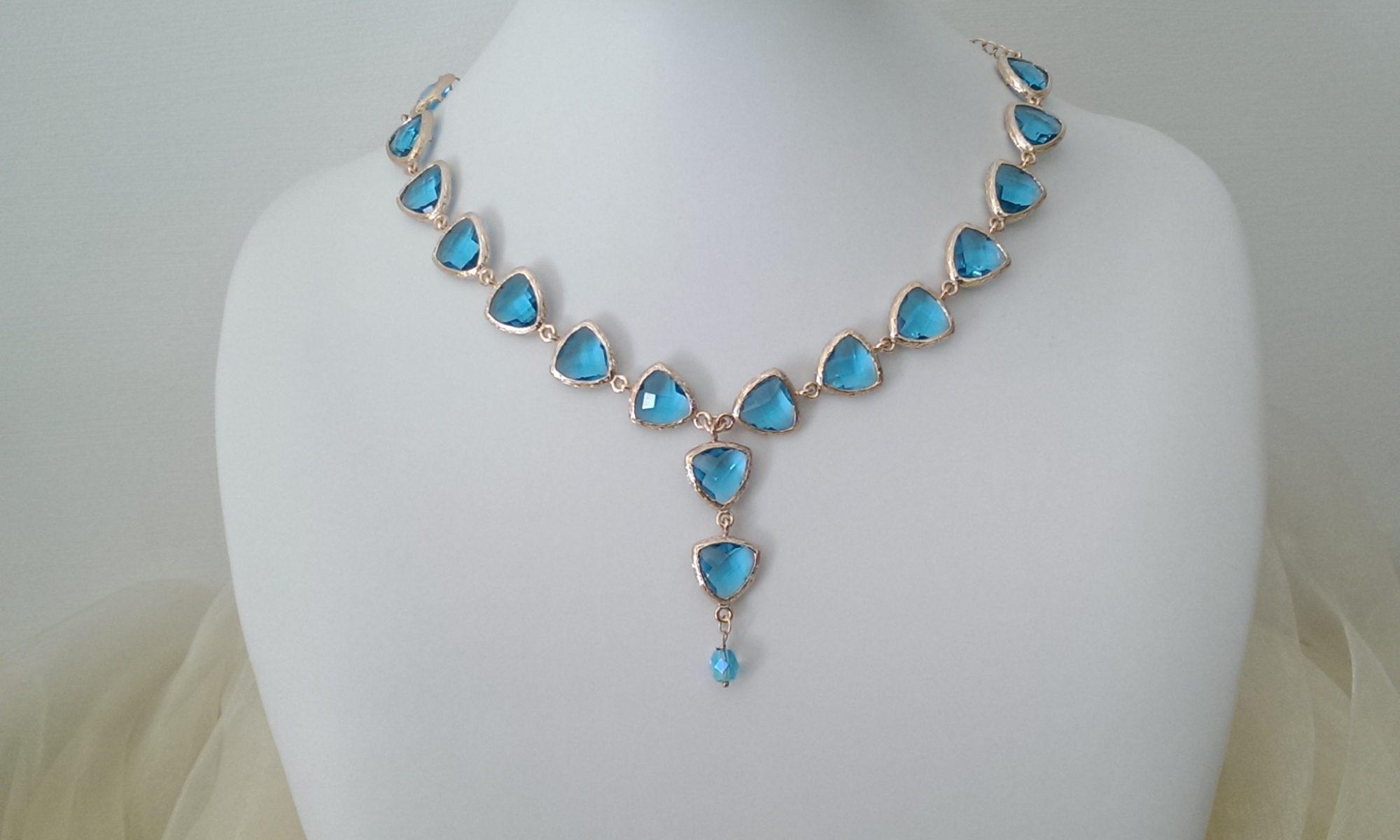 Collana di cristallo acquamarina e catena argento 925